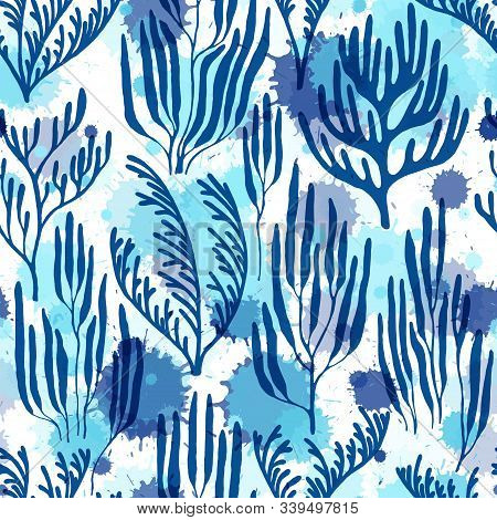 Coral Reef Seamless Pattern. Paint Splashes Drops Watercolor Background. Mediterranean Staghorn And