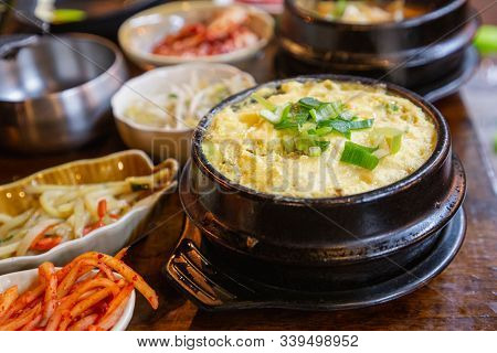 Korean Style Steam Egg Dish And Vegetables On Wood Table. Korean Food. Korean Food For Design. Korea