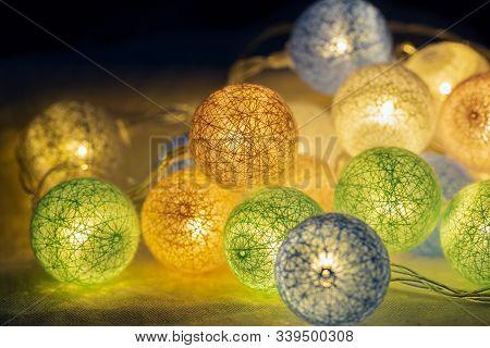 Led Light For Decoration Antique. Led Light Bulbs Vintage Style. Close Up Led Light Bulbs Decoration