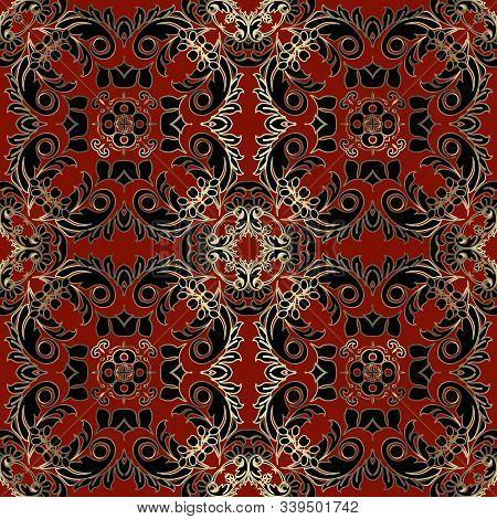 Beautiful Elegant Baroque Vector Seamless Pattern. Luxury Ornamental Damask Background. Floral Elega
