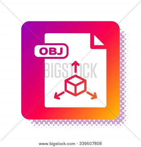 White Obj File Document. Download Obj Button Icon Isolated On White Background. Obj File Symbol. Squ