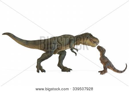 Tyrannosaurus Rex With Baby Tyrannosaurus Rex Isolated On White Background. Family Concept, Lovely D