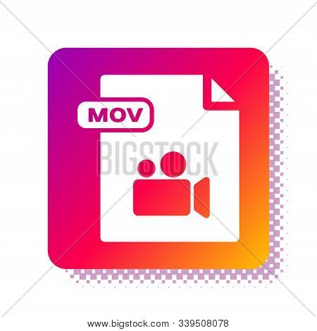 White Mov File Document. Download Mov Button Icon Isolated On White Background. Mov File Symbol. Aud
