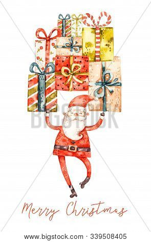Naive Watercolor Santa Claus With Gifts, Nursery Design, Greeting Postcard Cover Isolated On White B