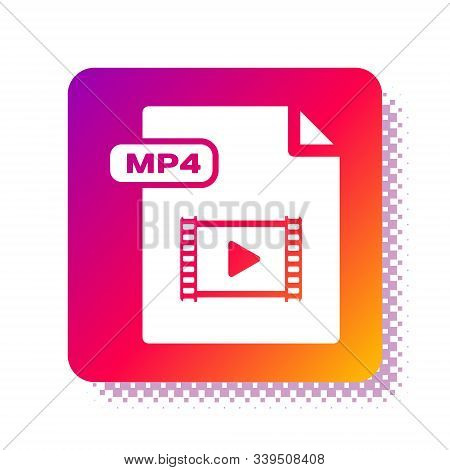 White Mp4 File Document. Download Mp4 Button Icon Isolated On White Background. Mp4 File Symbol. Squ