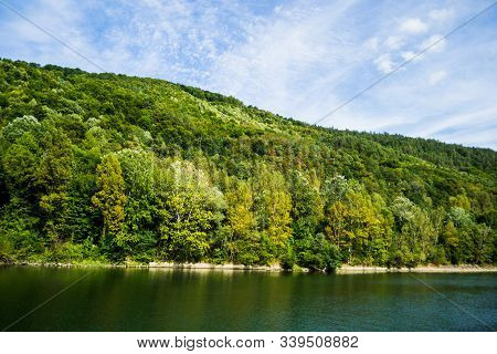 Landscape With Olt River In Cozia National Park, Carpathian Mountains, The Longest River In Romania.