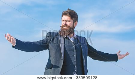 Man Bearded Proud Himself Sky Background. Superiority And Power. Feeling Undefeated. Proud Of Himsel