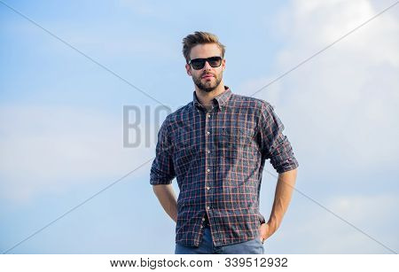 Barber Shop Concept. Businessman In Glasses. Confidence And Charisma. Male Fashion Style. Looking Ve