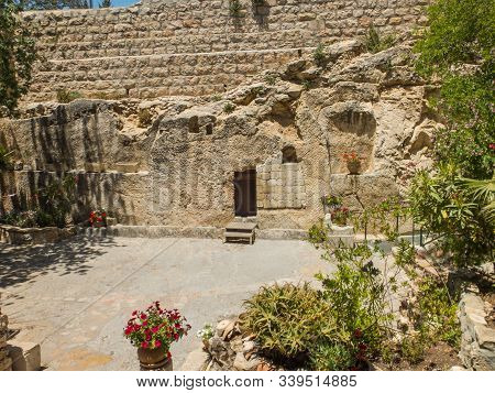 The Garden Tomb, Entrance To The Tomb Cut Into The Rock. The Garden Tomb, Site Of Pilgrimage, Rock T