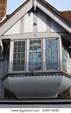 Bay Window At Medieval Building In The City Of Canterbury, England, With Half-timbered Gable