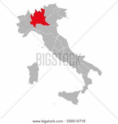 Lombardia Italy Political Map Marked Red. Gray Background.
