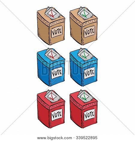 Set Ballot Box. Vector Illustration Box For Vote. Ballot Box For Voting In Elections Hand Drawn. Vot
