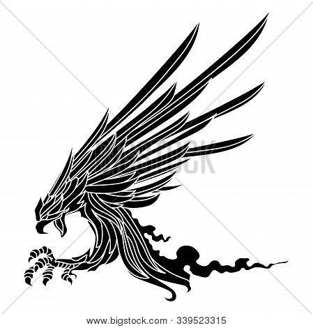 Eagle Soaring Rising Wings Logo Design Vector
