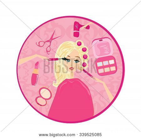 Beautiful Blonde At The Stylist, Hairdresser And Makeup Artist Set , Vector Illustration
