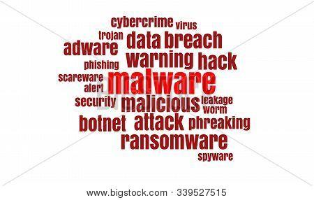 Conceptual Words Cloud. Data Breach, Malware, Cyber Attack, Hacked Concept