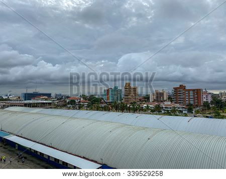 Colon/panama - 11/6/19: A View Of The Colon, Panama Skyline From The Port With Its Apartments, Condo