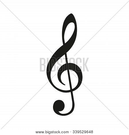 Illustration Of A Black G Clef Isolated On White Background. Vector.