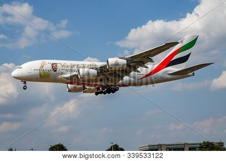 London / United Kingdom - July 14, 2018: Emirates Airlines Special Livery Airbus A380 A6-eua Passeng