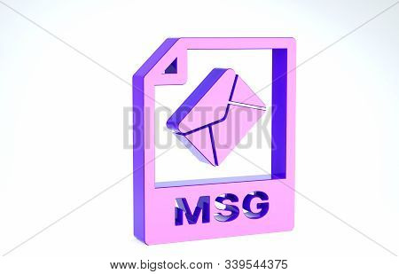 Purple Msg File Document. Download Msg Button Icon Isolated On White Background. Msg File Symbol. 3d