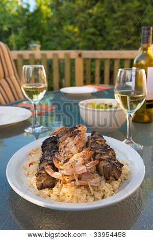 Outdoor Chicken And Shrimp Meal