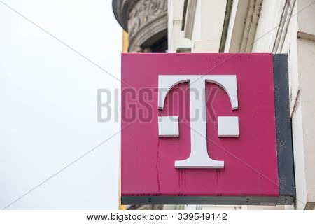 Brno, Czechia - November 5, 2019: T Mobile Logo On Their Main Shop In Brno. T-mobile, Is One Of The