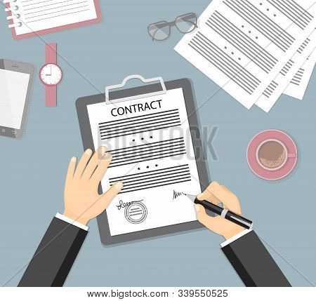 Businessman Signing A Contract. Flat Concept Of Business Financial Agreement, Management, Marketing.