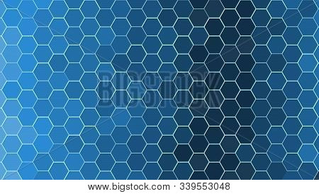 Honeycomb Grid Tile Random Background Or Hexagonal Cell Texture. In Color Bright And Dark Sky Blue W
