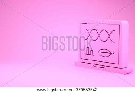 Pink Genetic engineering modification on laptop icon isolated on pink background. DNA analysis, genetics testing, cloning. Minimalism concept. 3d illustration 3D render poster