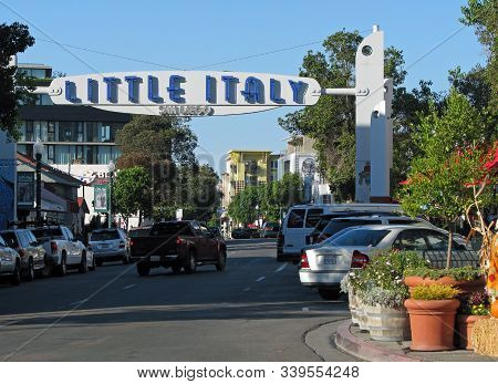 San Diego, California - November 06: San Diego, California Little Italy Welcome Sign, Shops And Rest