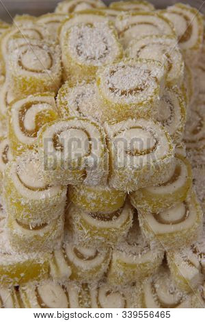 Turkish Delight. Traditional Sweets, Rahat Lukum In Counter In The Market