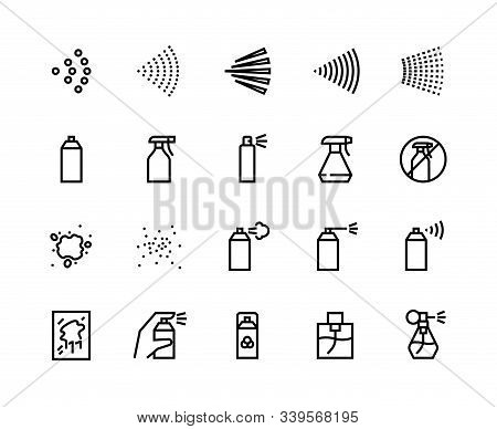 Spray Line Icons. Can With Cleaning Aerosol, Outline Hand With Sprayer, Disinfectant Deodorant And P