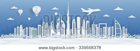Dubai Paper Cut. Uae Skyline City Panorama With Famous Landmarks For Postcards And Poster. Vector Du