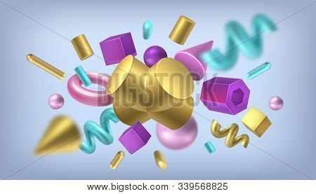 Render Shapes Background. Isometric Golden Memphis Elements, Abstract Geometric Metal Shapes. Vector