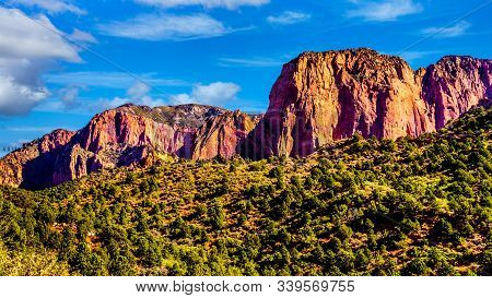 View Of The Nagunt Mesa And Other Red Rock Peaks Of The Kolob Canyon Part Of Zion National Park, Uta