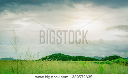 Green Grass Field In Front Of The Mountain At Countryside. Nature Landscape. Green Grass Meadow In F