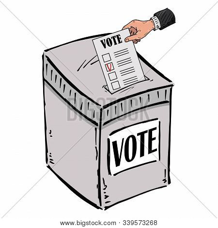 Ballot Box. Vector Illustration Box For Vote. Ballot Box For Voting In Elections Hand Drawn. Wrist H