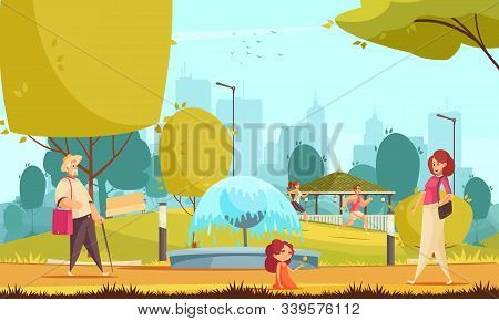City Park Summer Flat Composition With Runners Little Girl With Mother Near Fountain Cityscape Backg