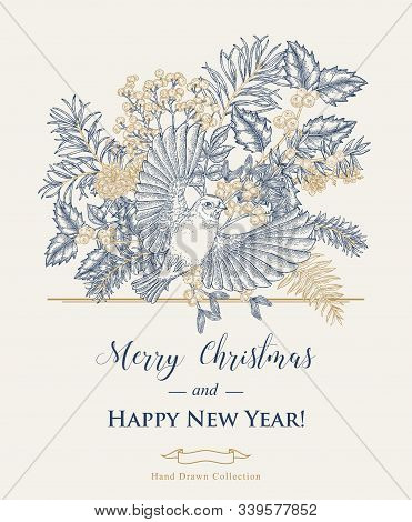 Christmas Card With A Flying Bird And Winter Plants. Hand Drawn Finch, Holly Branch, Juniper, Mistle