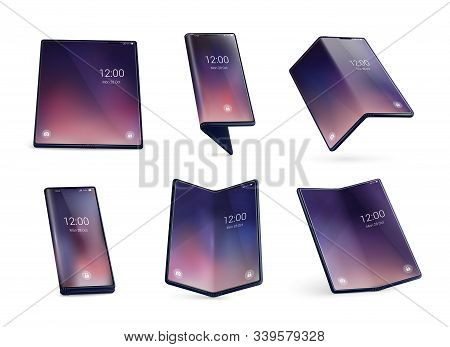 Foldable Smartphone Form Concept Realistic Images Set With Unfolded Devices Larger Tablet Like Displ