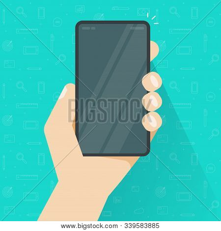 Phone Or Cellphone In Hand With Empty Screen Or Person Holding Mobile Smartphone With Blank Display