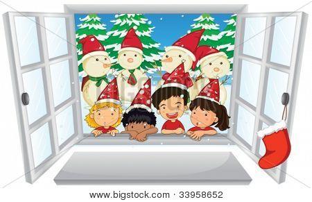 Illustration of carol singers at christmas