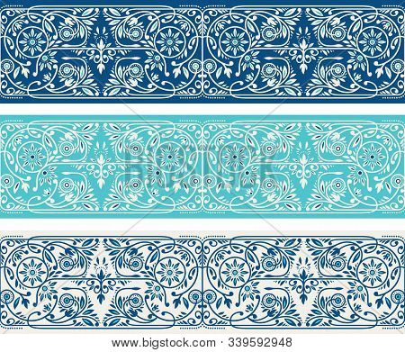 Winter Blue And Turquoise Floral Borders Collection. Three Seamless Classic Blue Vector Band