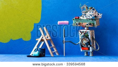 Steampunk Toy Painter Decorator With Paint Roller And Wooden Ladder. Redecoration Blue Room Interior