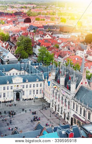 Aerial View Of The Burg Square In The Historic City Of Bruges, Belgium. View From The Belfort Tower.