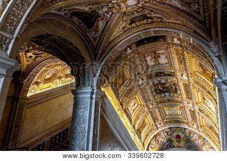 Venice, Italy - May 20, 2017: Staircase Of The Renaissance Inside The Doge`s Palace In Venice. Medie
