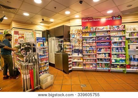 SINGAPORE - CIRCA APRIL, 2019: health and beauty essentials on display at 7-Eleven convenience store in Singapore. A convenience store is a small store that stocks a range of everyday items.