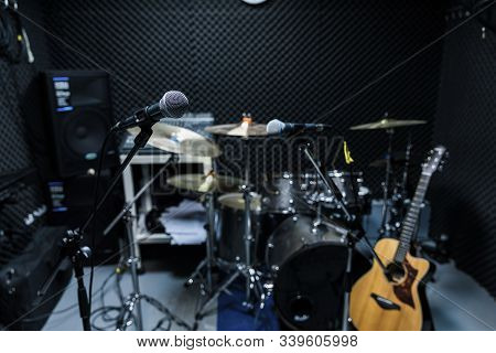 Professional Condenser Studio Microphone, Musical Concept. Recording, Selective Focus  Microphone In