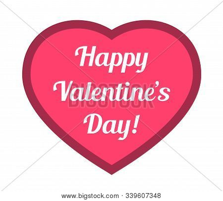 Happy valentines day lettering on pink heart color vector illustration. Pink heart shape with happy valentines day lettering vector illustration. Valentine day icons. Love and relationships concept
