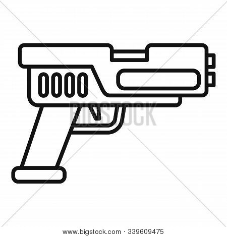 Automatic Blaster Icon. Outline Automatic Blaster Vector Icon For Web Design Isolated On White Backg