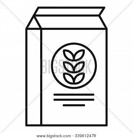 Paper Flour Package Icon. Outline Paper Flour Package Vector Icon For Web Design Isolated On White B